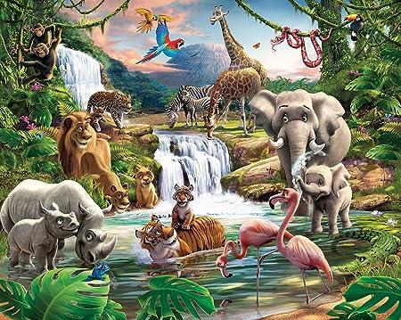 Walltastic Jungle Adventure Wallpaper Mural 8ft X 10ft Amazon Co Uk Kitchen Home