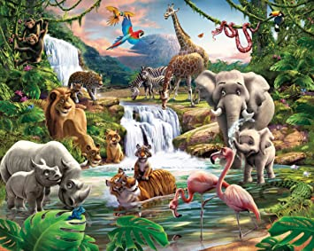 Walltastic Poster Papier Peint Jungle Adventure Amazon Fr