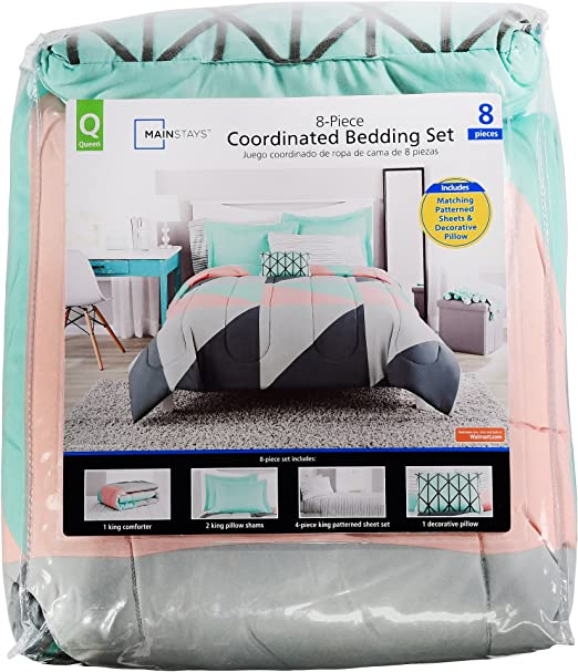 TwinXl Gray /& Teal Bed in a Bag Bedding Comforter Set Queen Twin Full