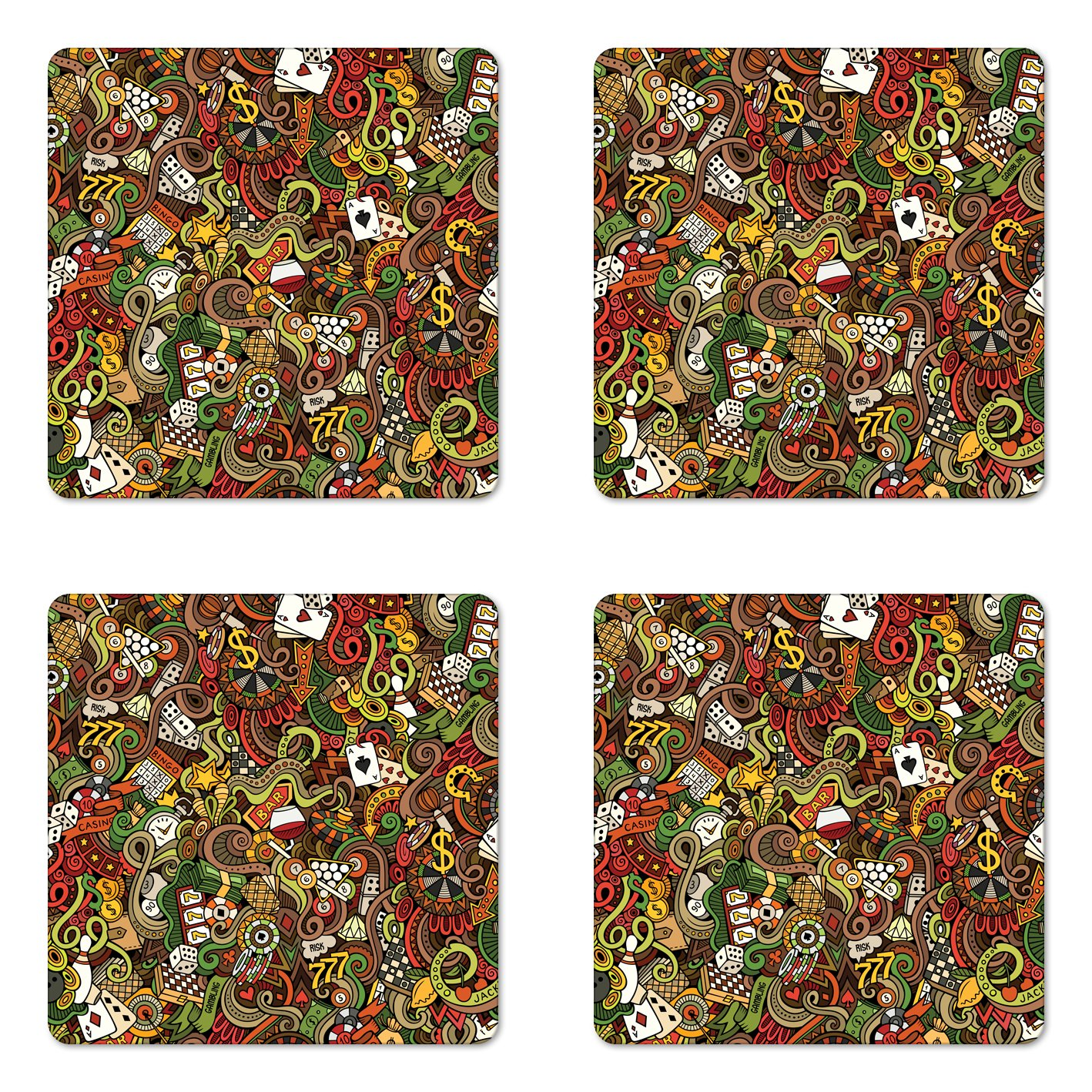 Ambesonne Casino Coaster Set of Four, Doodles Style Artwork of Bingo and Cards Excitement Checkers King Tambourine Vegas, Square Hardboard Gloss Coasters for Drinks, Multicolor