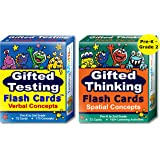 Gifted Testing Flash Cards (2-Pack) – Verbal and Spatial Concepts for Pre-K - 2nd Grade – Practice for CogAT test, OLSAT test, NNAT test, NYC Gifted and Talented, ITBS test, WISC, WPPSI, AABL