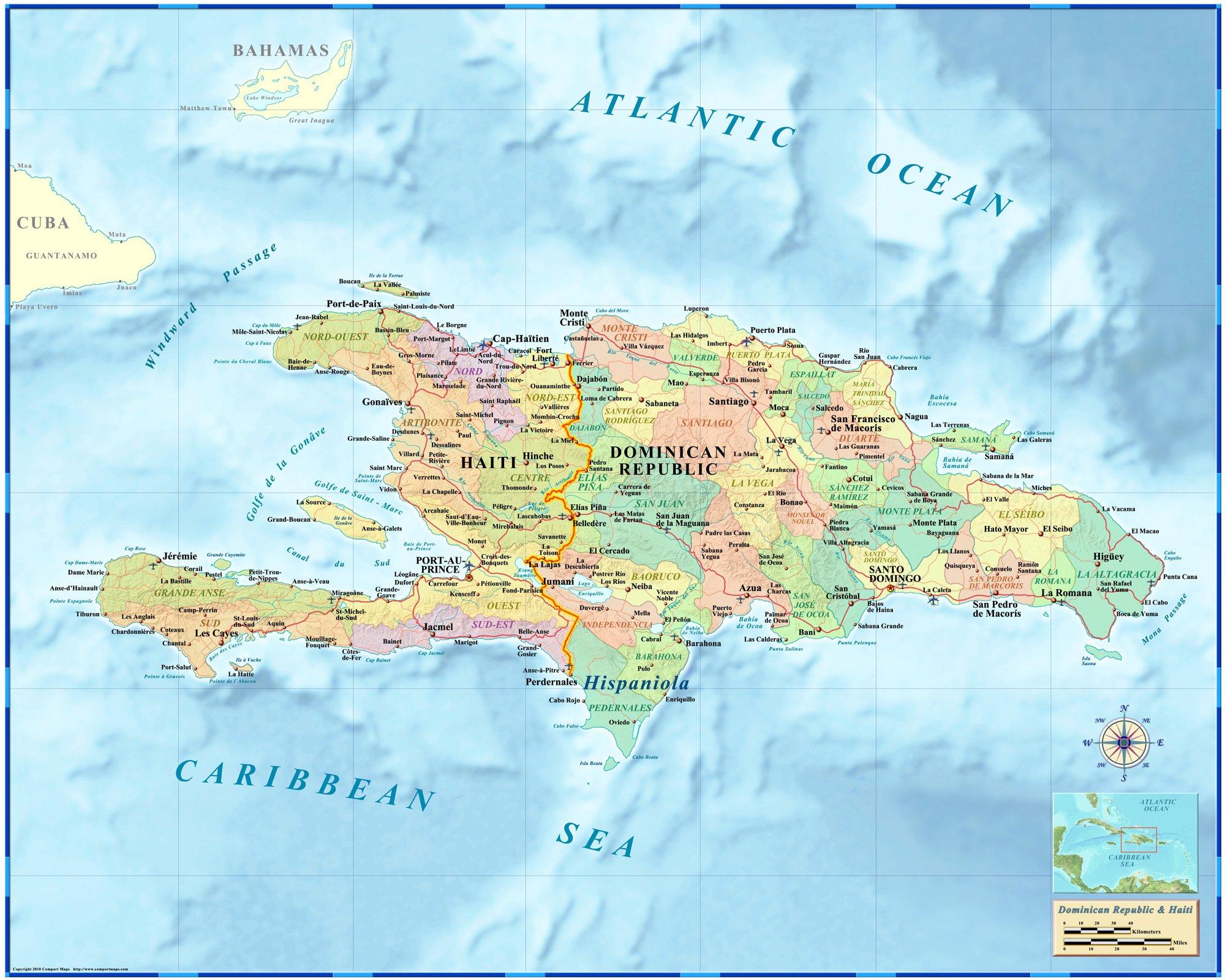 Dominican Republic Haiti Hispaniola Wall Map Laminated 36 X45