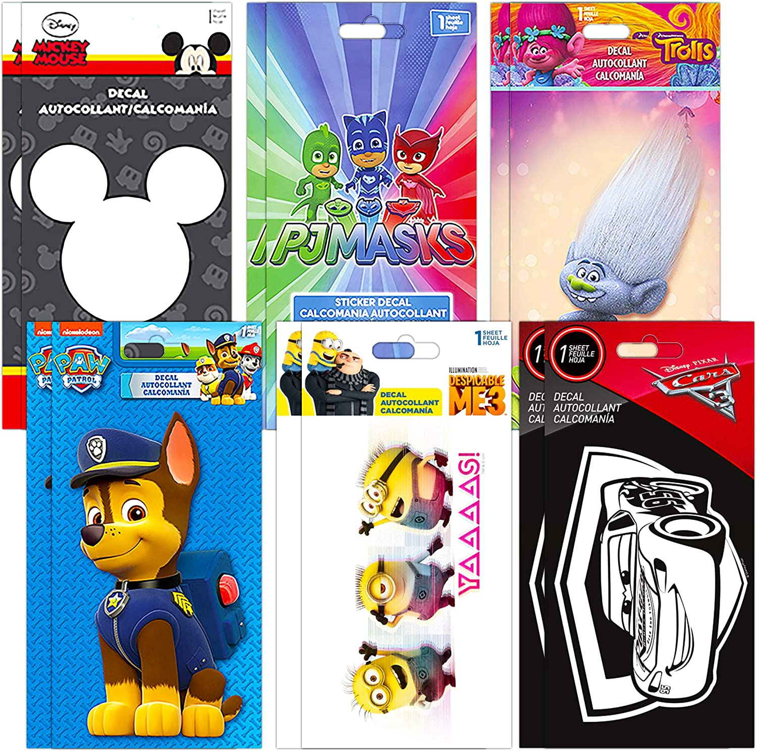 Ultimate Kids Sticker Bundle Set for Boys Girls - Premium 12 Pack Decal Stickers Featuring Paw Patrol, Despicable Me, Disney Cars, Trolls, PJ Mask, Mickey Mouse (Party Favors Room Decor)
