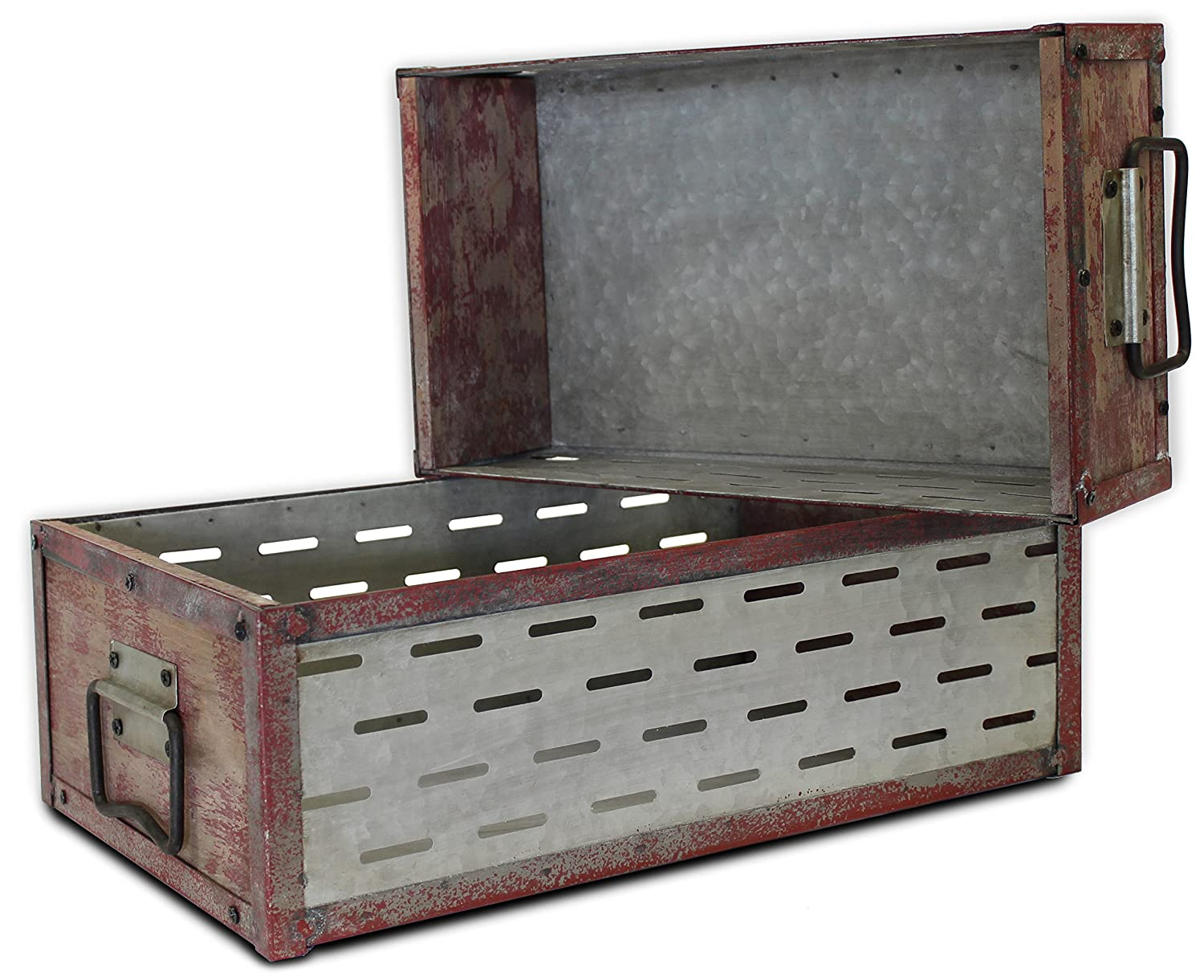 Vintage Distressed Industrial Wood/Metal Rectangular Bins Set of 2