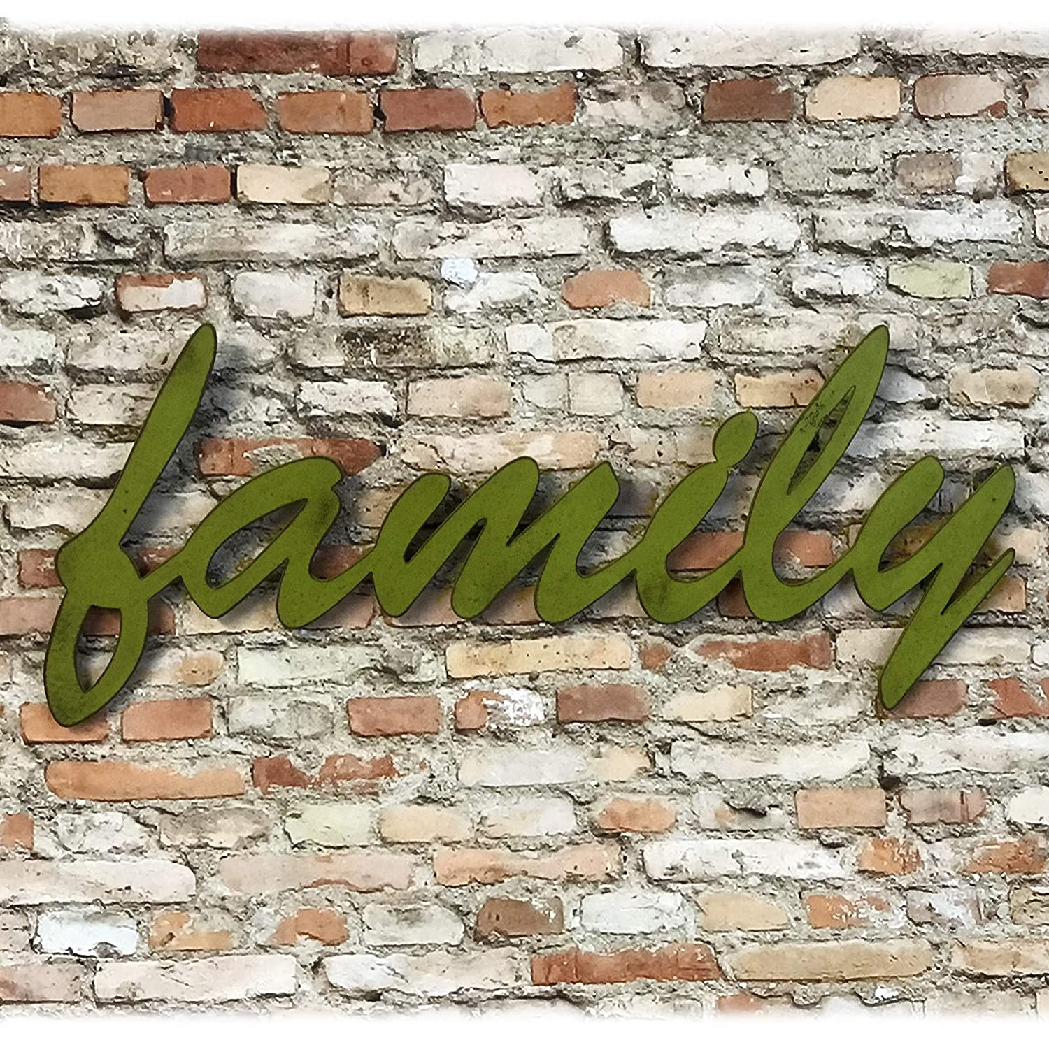 family sign Metal Wall Art Home Decor Handmade Brush Script 17 Choose your Size 13 Choose your Patina Color 24 or 32 wide Decorative Word for Wall