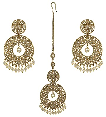 MUCHMORE Gorgeous Indian Style Stunning Gold Plated Polki Earrings with Maangtikka Jewelry fxffGj