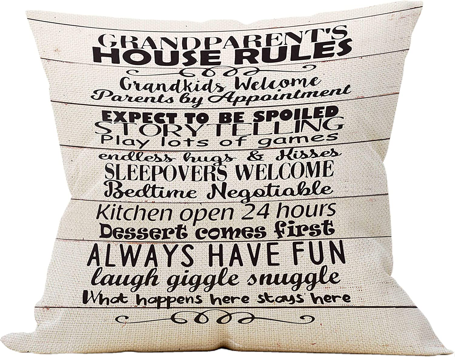 Grandparent's House Rules Throw Pillow Case, Grandpa Gifts, Front Porch Bench Decorations, Housewarming Gift, Porch Decor, 18 x 18 Inch Farmhouse Decorative Linen Cushion Cover for Sofa Couch Bed
