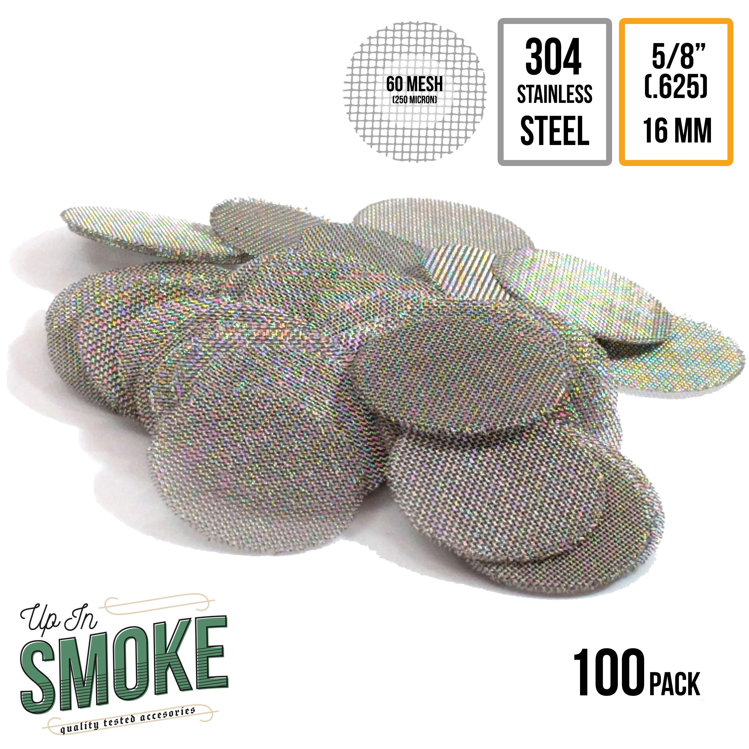 Made in the USA - 100 5/8''(.625) 304 Stainless Steel Premium Pipe Screen Filters by Up in Smoke Pipe Screens