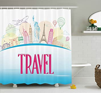 Amazon Ambesonne Travel Shower Curtain Famous Landmarks Of The