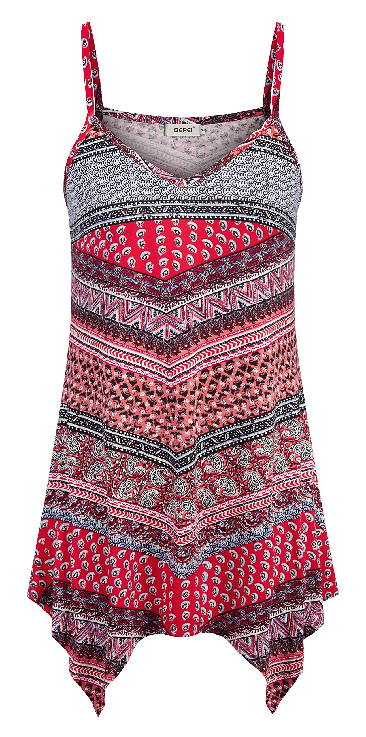 d09af443f56054 BEPEI Sleeveless Floral Shirts for Women,Ladies Stylish Spaghetti Strap  Camisoles Tank Print Breezy Loose Botttom Ruffles Tunics Summer Basic V  Neck Tops ...
