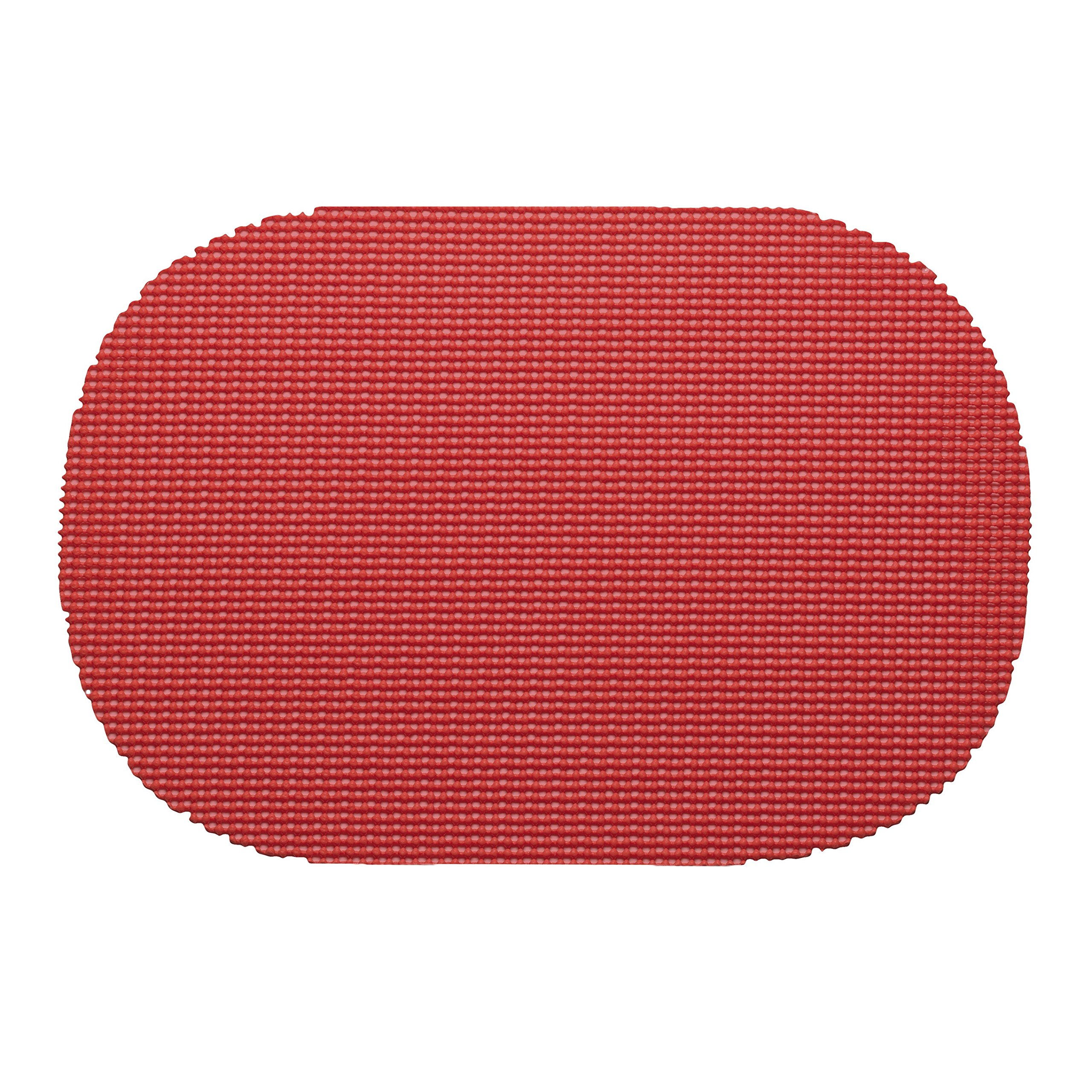 12 Piece Flag Red Placemats,(Set of 12), Machine Washable, Solid Pattern, Oval Shape, Contemporary And Traditional Style, Perfect For Everyday Entertaining, Season Or Holiday Lace Material, Ruby
