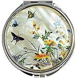 Miroir de poche design, artisanat de luxe Coréen en nacre naturelle, décors plantes et insectes, inox - double miroir 1 grossissant