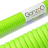 Ganzoo universal survival rope made of tear-resistant sheated core rope Paracord 550 from nylon, 550lbs, total length 15m, light/neon green