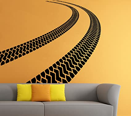 Car Traces Wall Vinyl Decal Tire Tracks Sticker Art Mural Home Removable Decor (2dtrk)