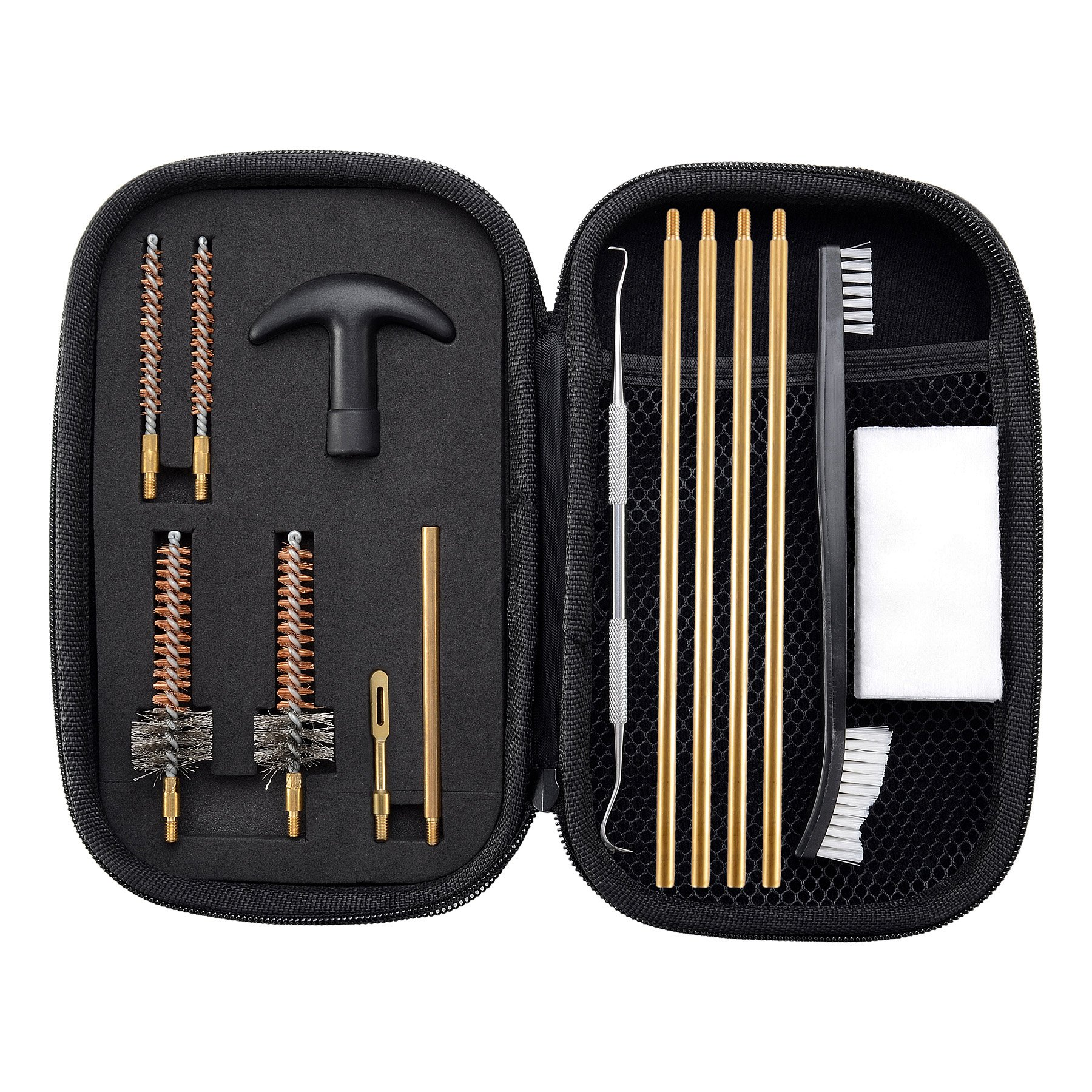BOOSTEADY Pro .223/5.56 AR15/M16/M4 Rifle Gun Cleaning Kit with Bore Chamber Brushes Cleaning Pick Kit, Brass Cleaning Rod in Zippered Organizer Compact Case