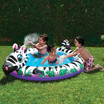 Amazon.com: Banzai Spray N Play Zebra Splash – Piscina ...