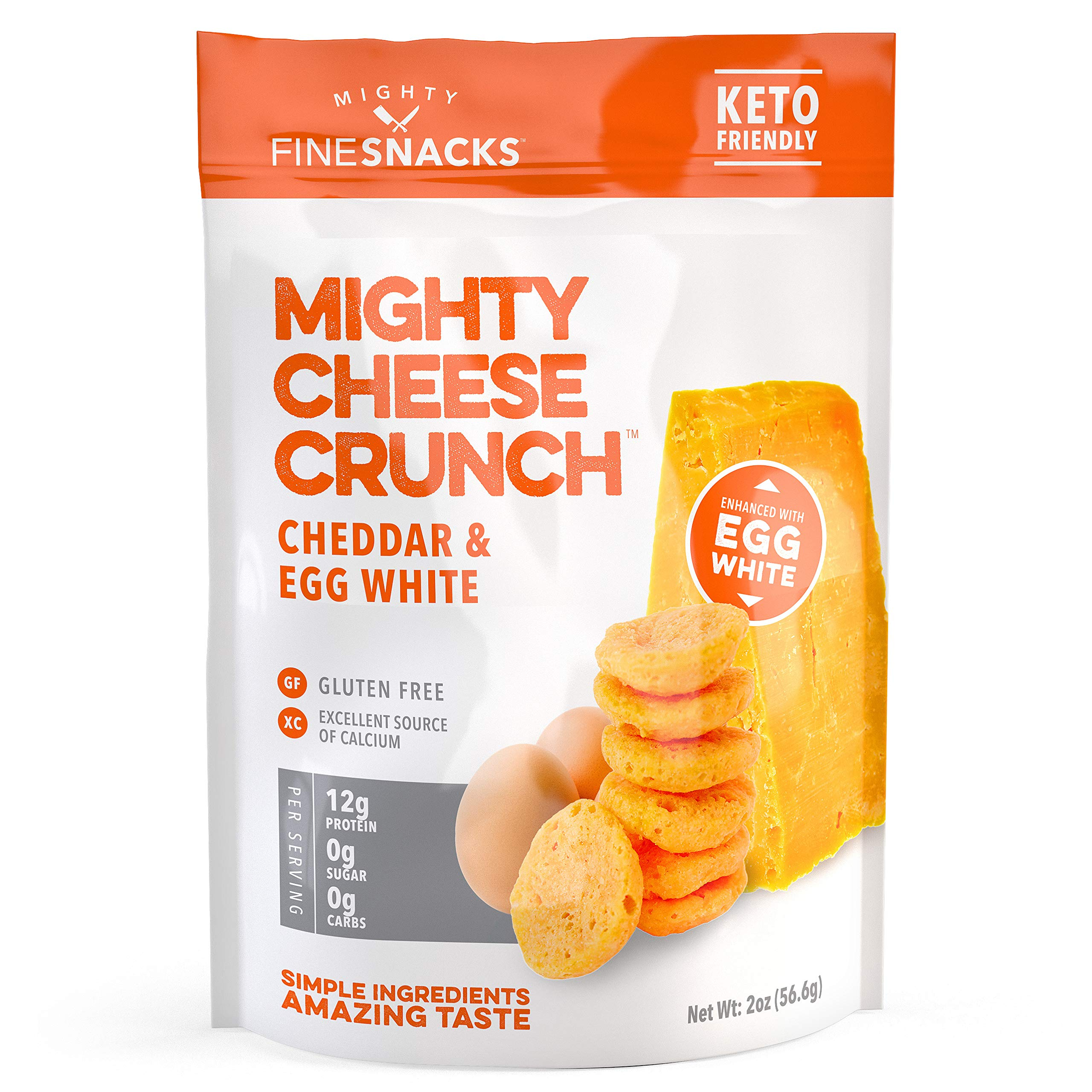 Cheddar & Egg White Cheese Crisps - Low Carb, Gluten Free, High Protein Healthy Crunchy Cheese – Savory, Keto & Diet Friendly Baked Cheese with Natural Ingredients, Pack of 3, 2oz Bags