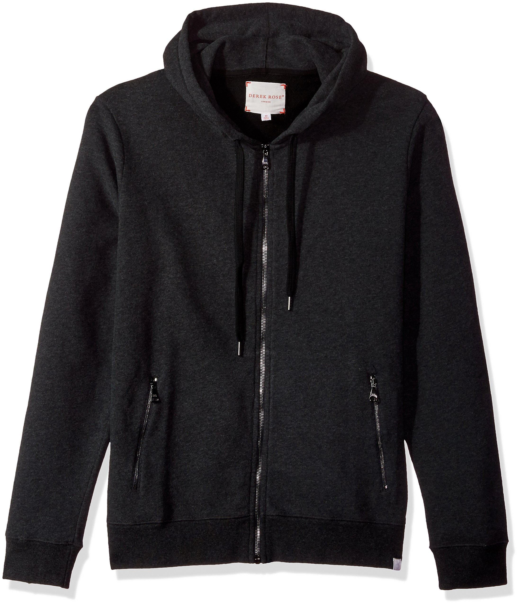 Derek Rose Men's Devon 1 Cotton Loopback Hoodie, Charcoal, L