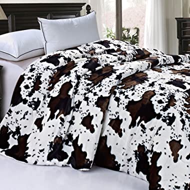 Home Soft Things Soft and Thick Faux Fur Sherpa Backing Bed Blanket, Queen (86  x 92 ), Cows Flower