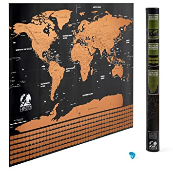 Amazoncom Scratch Off World Map Laminated Poster With US - Big map of us poster