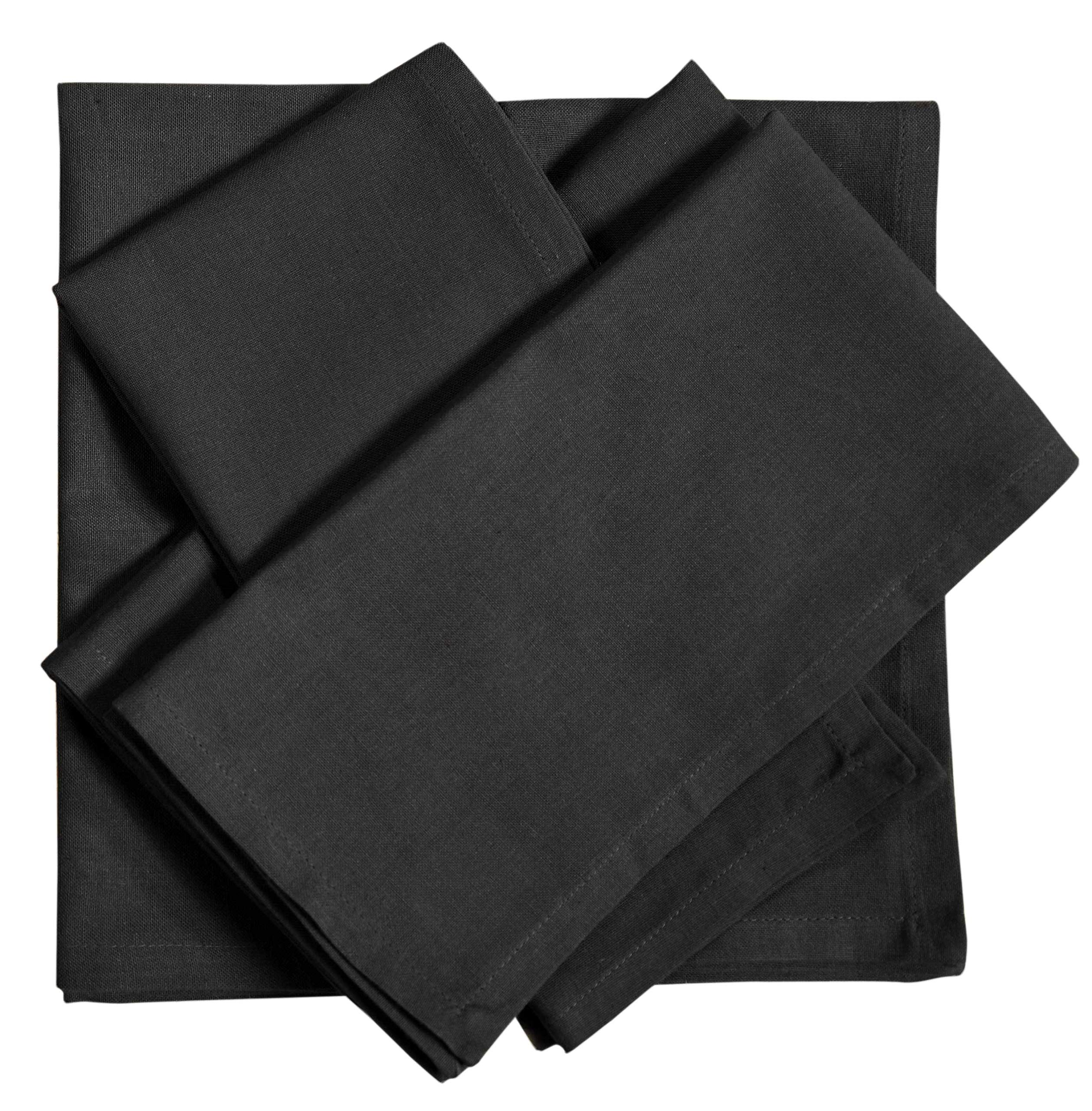 Pack of 12 Pieces,100% Cellulose Cotton fibres,20'' Square, Oversize Solid Colored Dinner Napkin with Decorative selvage fold. By Linen Clubs (Black)