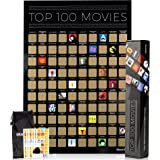 Movie Scratch Off Poster With Easy Off Gold Foil - Instantly Reveals Your Top 100 Movie Icons - 17 x 24 Poster in…
