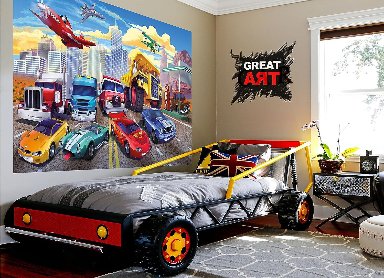 Fototapete für Kinderzimmer Autorennen Wandbild Dekoration ...