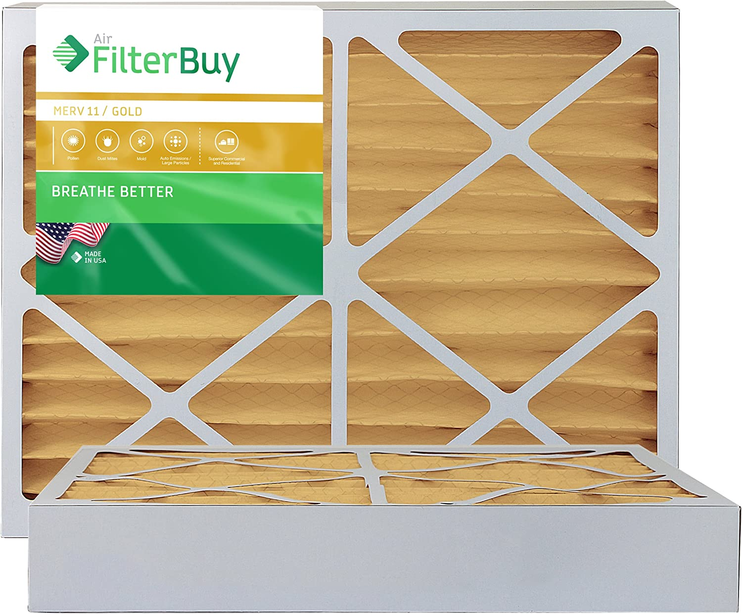 FilterBuy 20x25x4 MERV 11 Pleated AC Furnace Air Filter, (Pack of 2 Filters), 20x25x4 – Gold