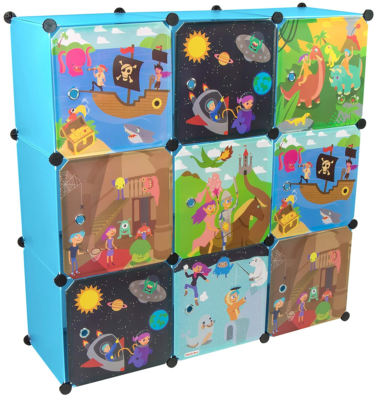 KEKSKRONE Groß er Kinderschrank Bunte Motiv-Tü ren - DIY Stecksystem - 9 Module je 37 x 37 x 37 cm, Blau | Kinderzimmer-Schrank | Kinderkleiderschrank | Baby-Regal | Spielzeugkommode Grinscard