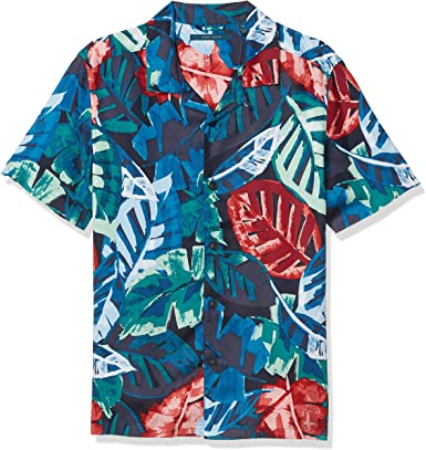 Perry Ellis - Camisa de cuello de campamento tropical de ...