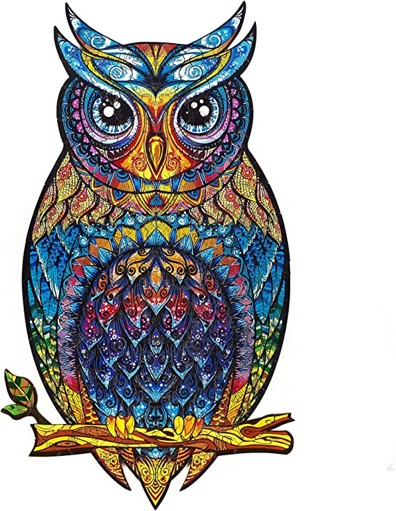 Amazon.com: Unidragon Wooden Jigsaw Puzzles - Unique Shape Jigsaw Pieces Best Gift for Adults and Kids Charming Owl 8.3 × 13.8 in (21 × 35 cm) – M: Toys & Games