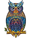 Unidragon Wooden Jigsaw Puzzles - Unique Shape Jigsaw Pieces Best Gift for Adults and Kids Charming Owl 8.3 × 13.8 in…