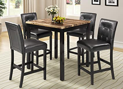 Amazon.com - AUCON Kitchen Table Set, 5-Piece Marble Top ...