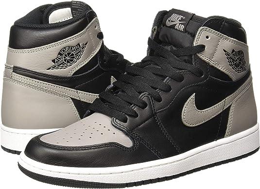 Jordan Nike Men's Air 1 Retro High OG BlackGreyWhite 555088 013 (Size: 11.5)