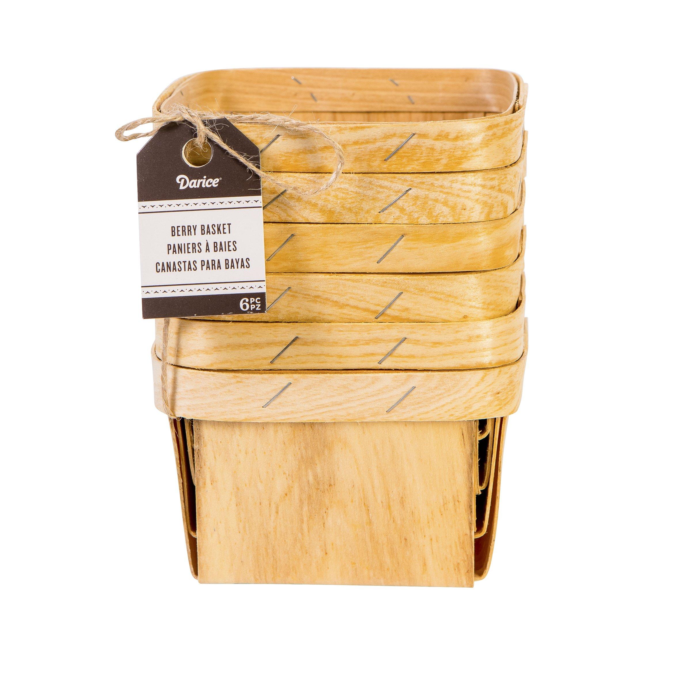 Darice Natural Wood Berry Basket, 6 Piece