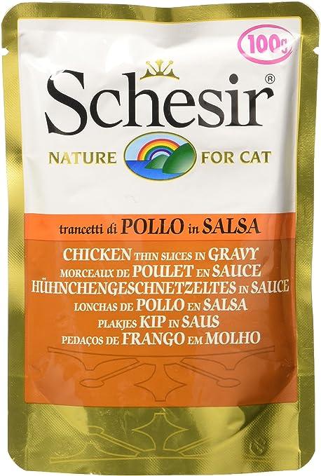 Schesir Sobres Soft Trancetti Pollo para Gatos, 100 g