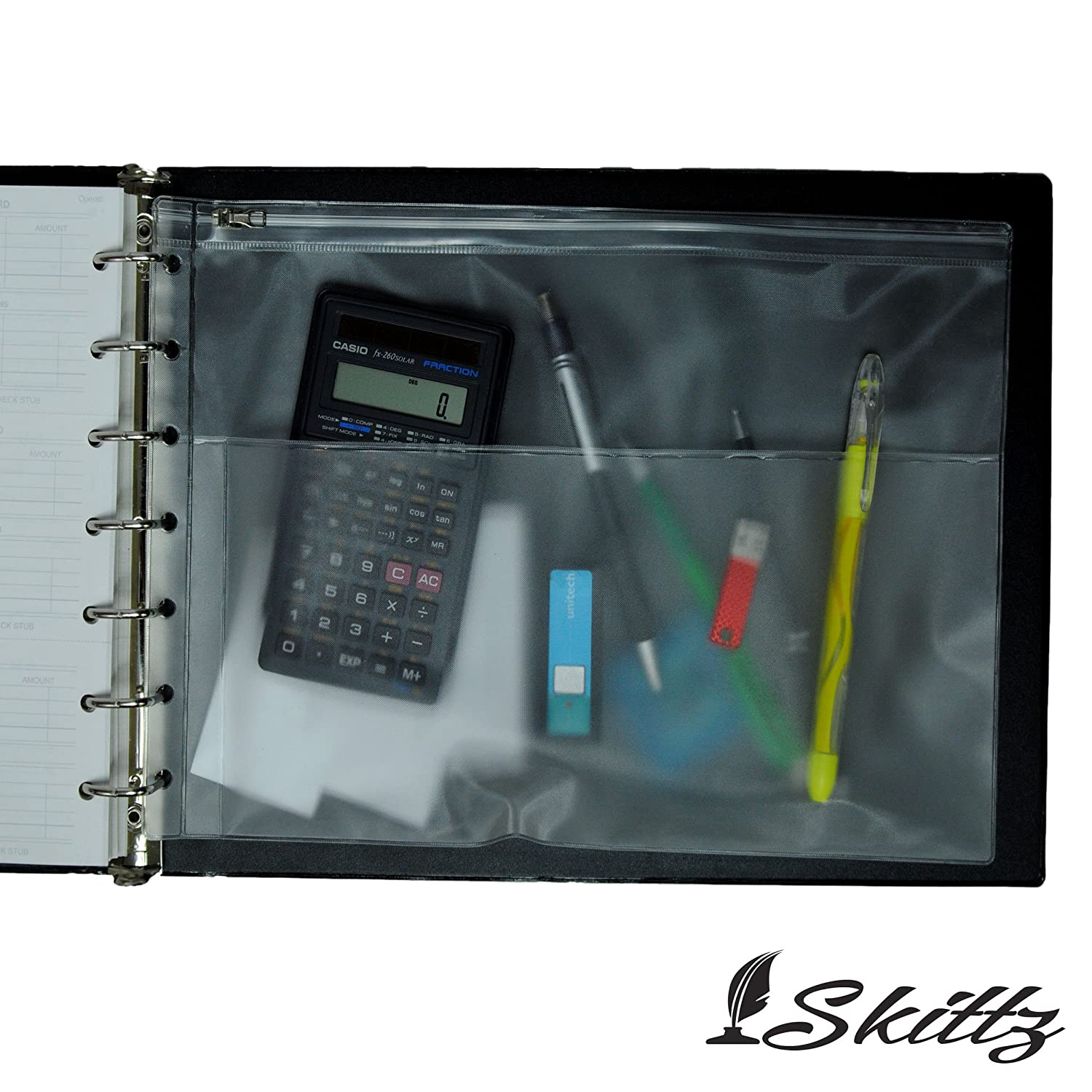 7 Ring Business Check Binder 3-on-a-page Vinyl Book Zipper