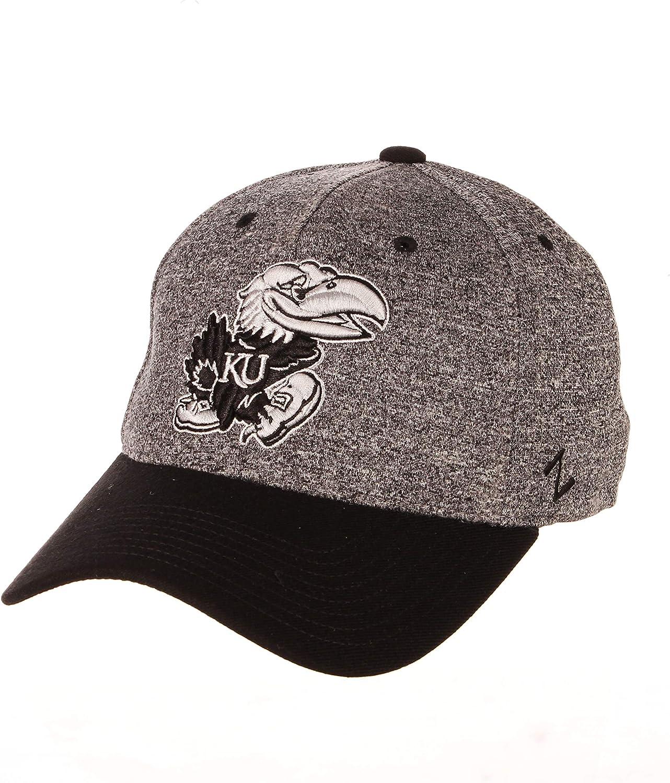 Charcoal//Black Small NCAA Zephyr Kansas Jayhawks Mens Interference Z-Fit Hat