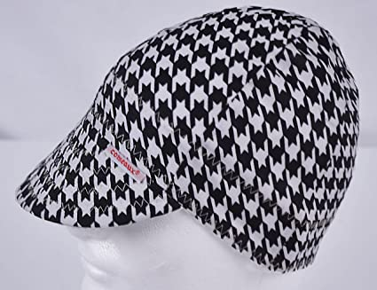 comeaux caps reversible welding cap black and white houndstooth size