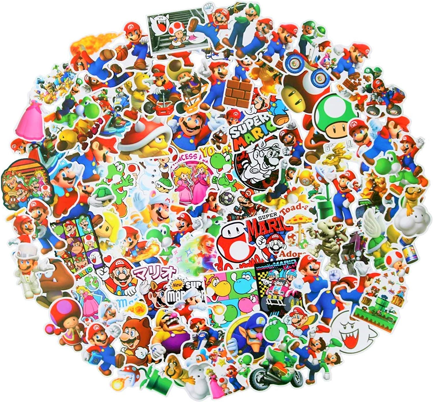 100pcs Super Mario Merchandise Stickers, Vinyl Sticker for Laptop Water Bottle Guitar Bike Car Motorcycle Bumper Luggage Skateboard Graffiti, Cute Decals, Best Gift for Kids,Children,Teen