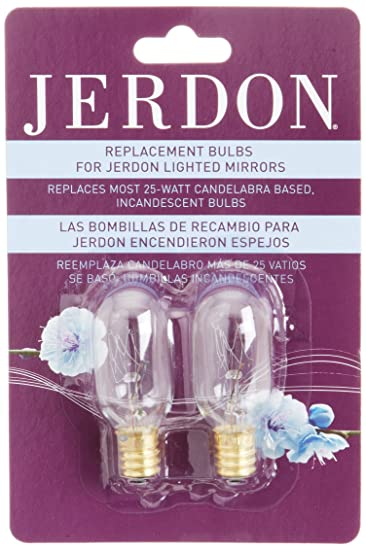 Amazon com   Jerdon JPT25W 25 Watt Replacement Light Bulbs for Lighted  Mirrors  2 Pack   Personal Makeup Mirrors   Beauty. Amazon com   Jerdon JPT25W 25 Watt Replacement Light Bulbs for