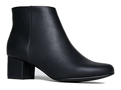 Women's Casual Comfortable Low Mid Heel Faux Leather Suede Pointy Toe Ankle Booties with Zipper Closure