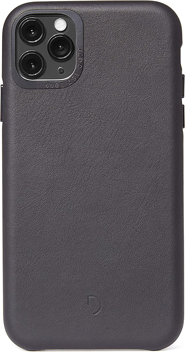 DECODED Back Cover Case for iPhone 11 Pro - Black Full Grain Leather, Metal Buttons, Shock Proof TPU