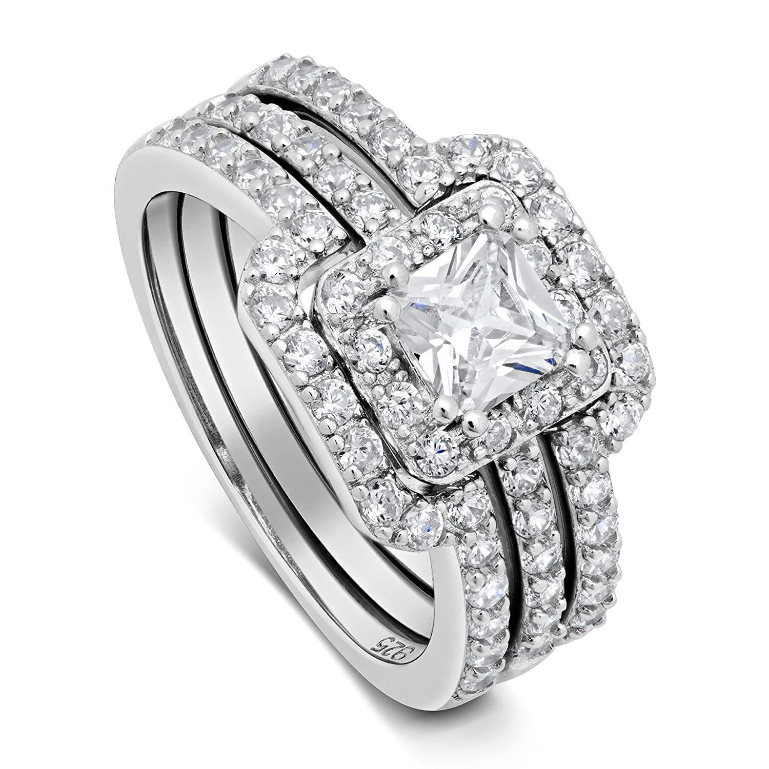 bridal channel cut ring princess and band product wedding engagement set rings