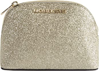 Michael Kors Gold Glitter Leather Jet Set Dome Cosmetic Pouch Bag