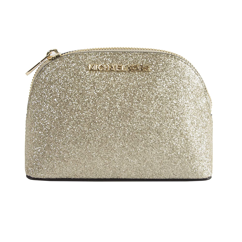 0626c23df632 Amazon.com   Michael Kors Gold Glitter Leather Jet Set Dome Cosmetic Pouch  Bag   Beauty