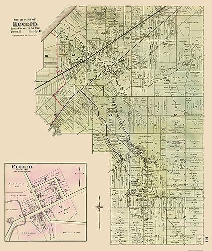 Amazon.com: Old City Map - Euclid, Southern Ohio Landowner - Cram ...