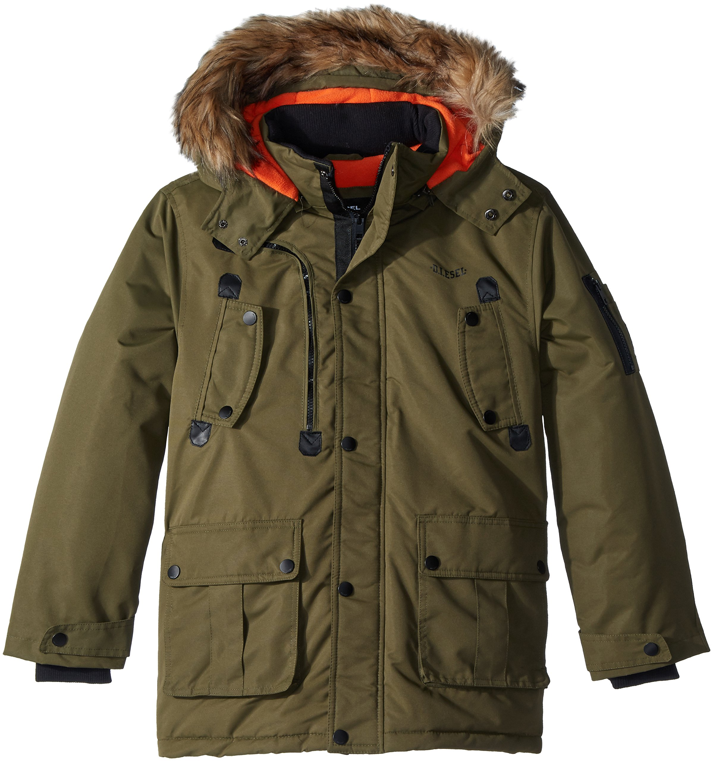 Diesel Boys' Little Outerwear Jacket (More Styles Available), Faux Fur Parka-DS68-Olive 7