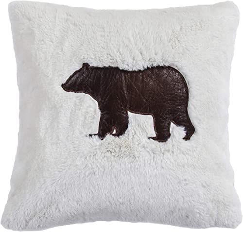 HiEnd Accents Soft Shearling Faux Leather Bear Applique Throw Pillow, 18 x 18 , White