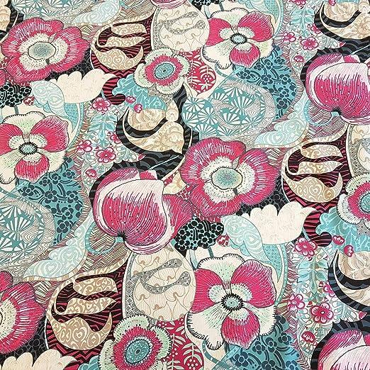 Stoff-Kollektion Tela por Metros, algodón, Flores y Amapolas, Rosa, Menta, Azul, Tela Decorativa, Cortina Exuberance: Amazon.es: Juguetes y juegos